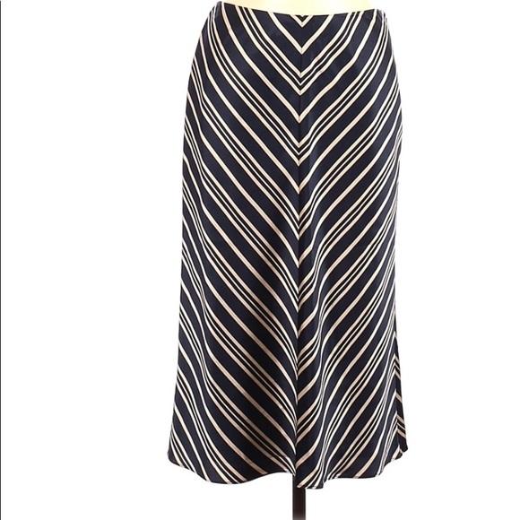 Banana Republic Long Blue Tan Striped Silk Skirt